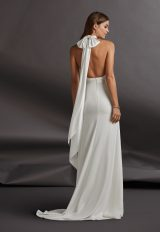 Halter Neckline Crepe Sheath Wedding Dress by Pronovias - Image 2