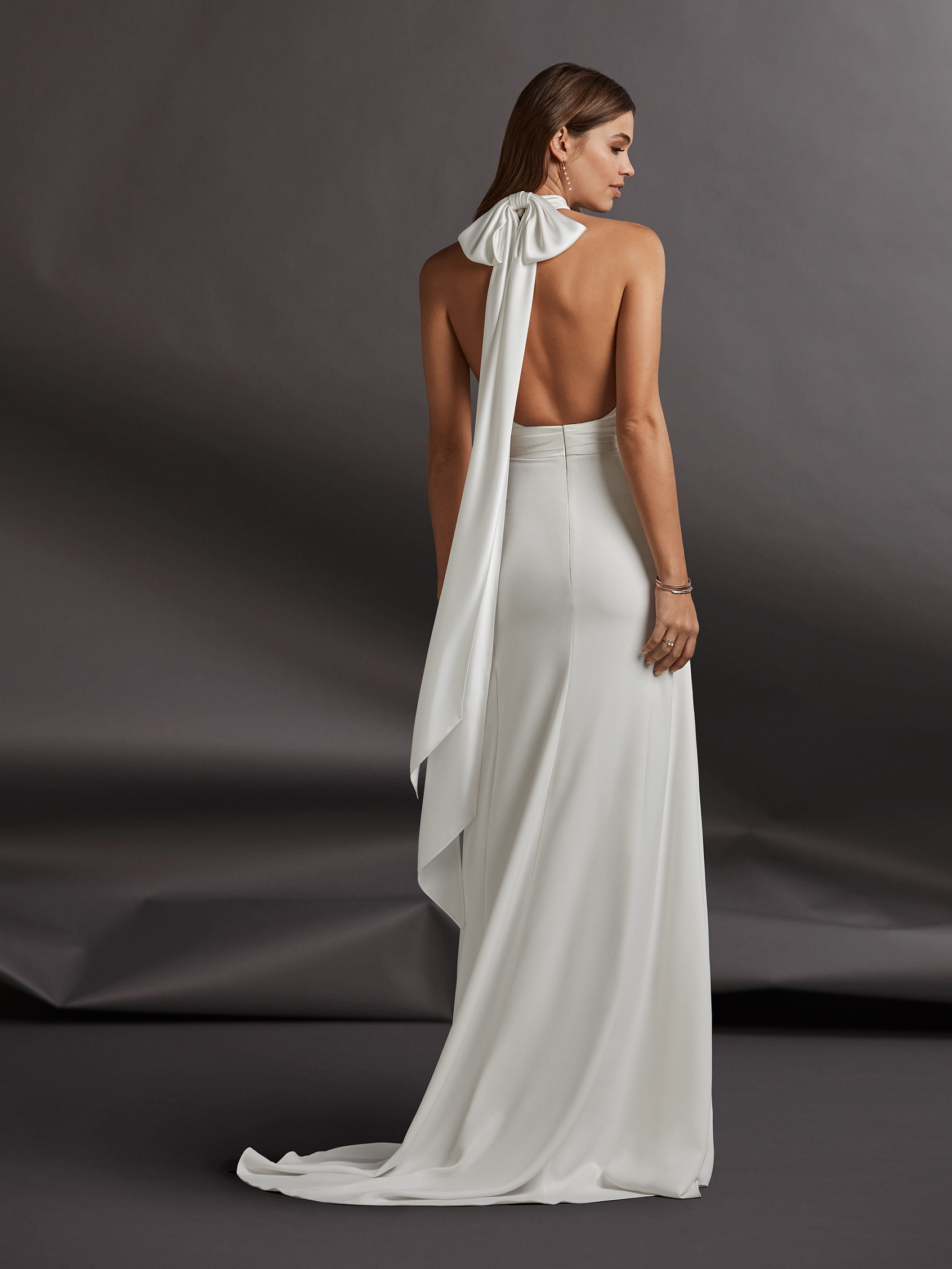 b0ef23a2 Halter Neckline Crepe Sheath Wedding Dress | Kleinfeld Bridal