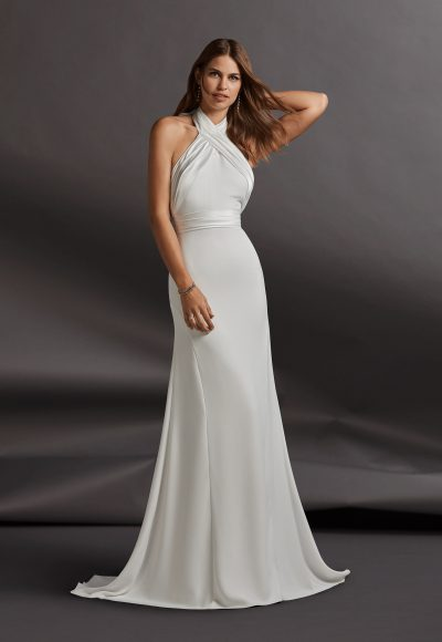 Halter Neckline Crepe Sheath Wedding Dress by Pronovias