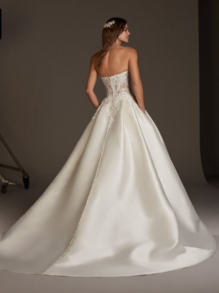 Silk Ball Gown With See Through Lace Corset Bodice by Pronovias - Image 2