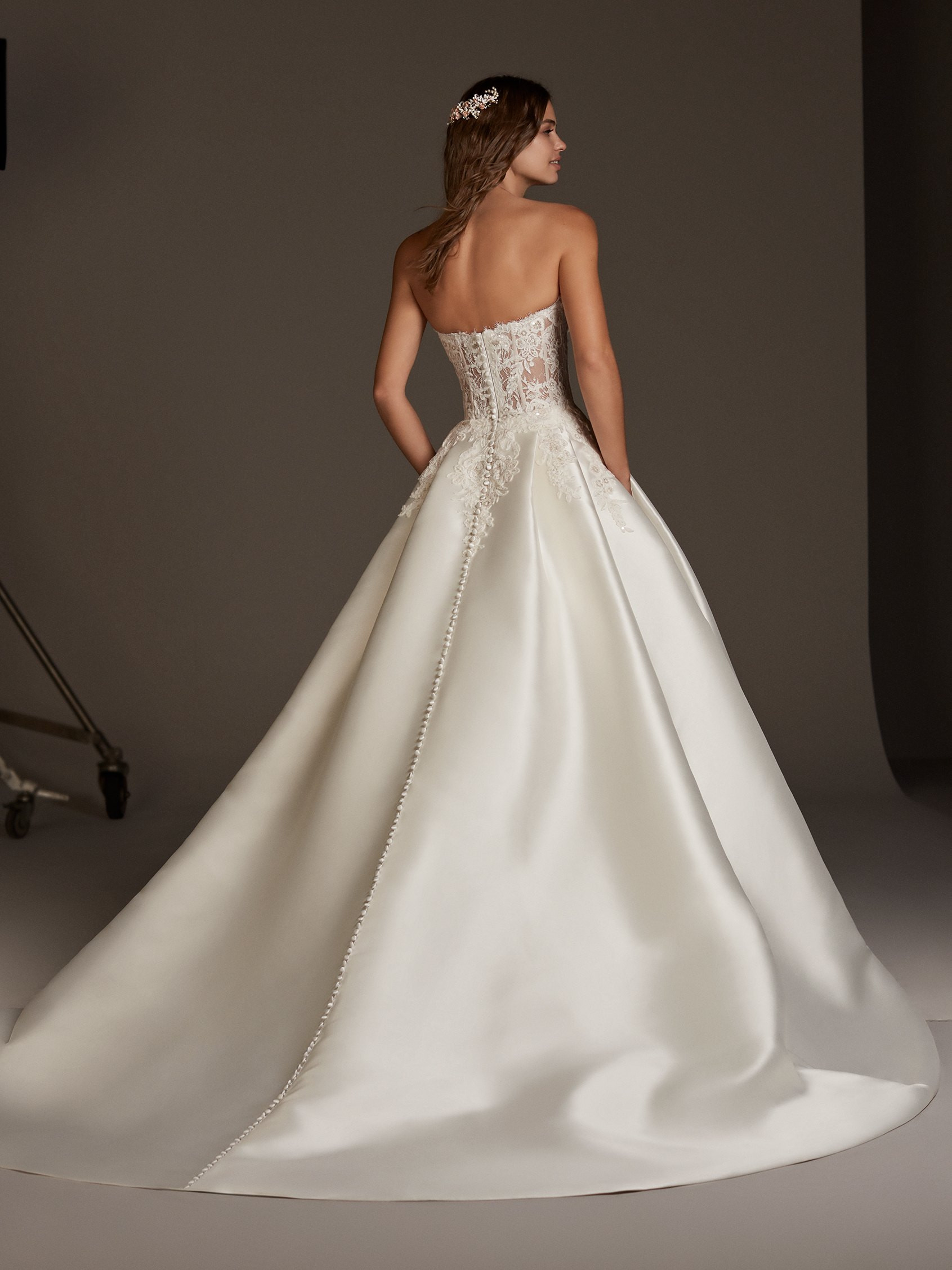 Silk Ball Gown With See Through Lace Corset Bodice