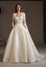 Silk Ball Gown With See Through Lace Corset Bodice by Pronovias - Image 1