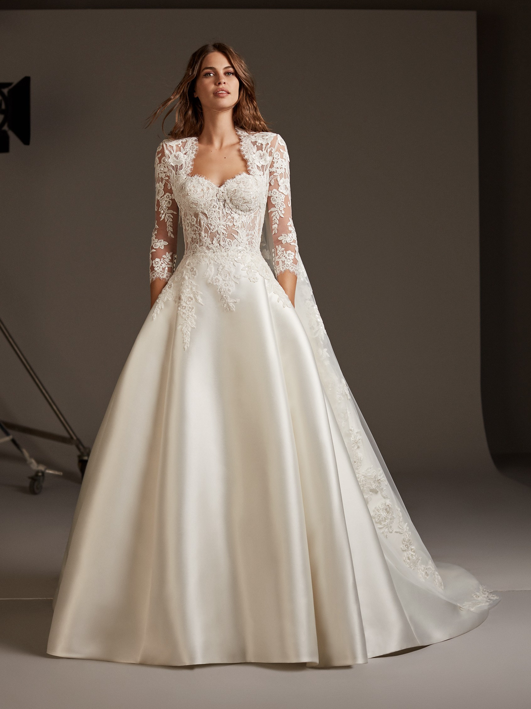 See Through Wedding Dresses.Silk Ball Gown With See Through Lace Corset Bodice