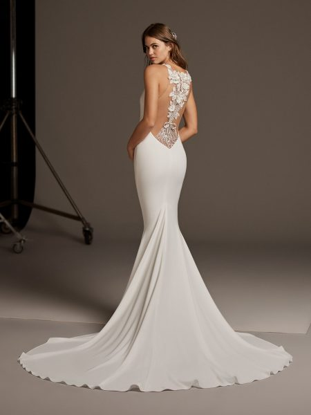 Sleevless Simple Dress With Lace Illusion Back by Pronovias - Image 2