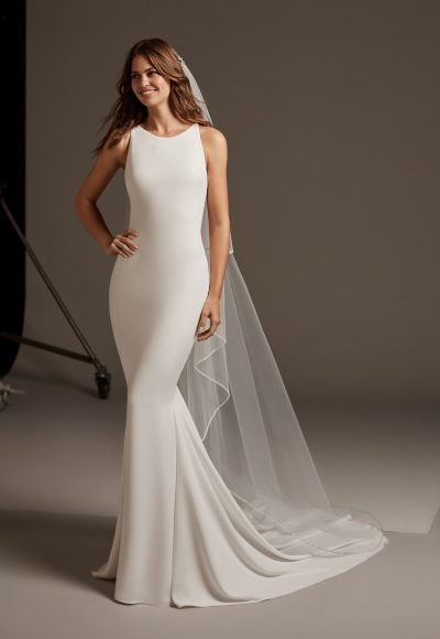 Sleevless Simple Dress With Lace Illusion Back by Pronovias
