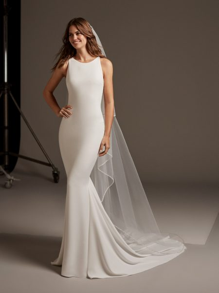 Sleevless Simple Dress With Lace Illusion Back by Pronovias - Image 1