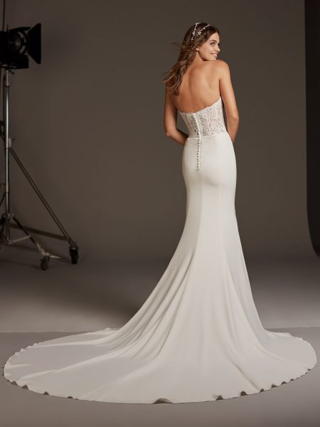 Strapless Mermaid Dress With Lace Bodice Corset by Pronovias - Image 2