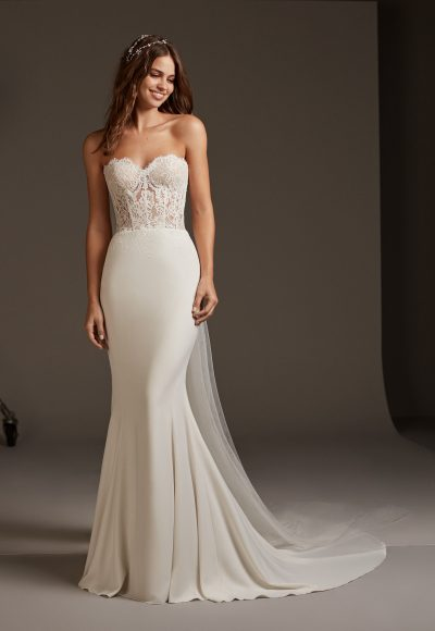 Strapless Mermaid Dress With Lace Bodice Corset by Pronovias