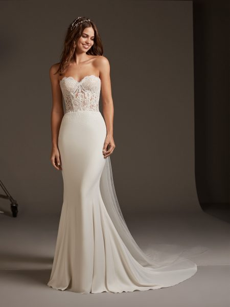 Strapless Mermaid Dress With Lace Bodice Corset by Pronovias - Image 1