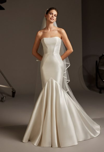 Strapless Silk Mermaid Wedding Dress by Pronovias