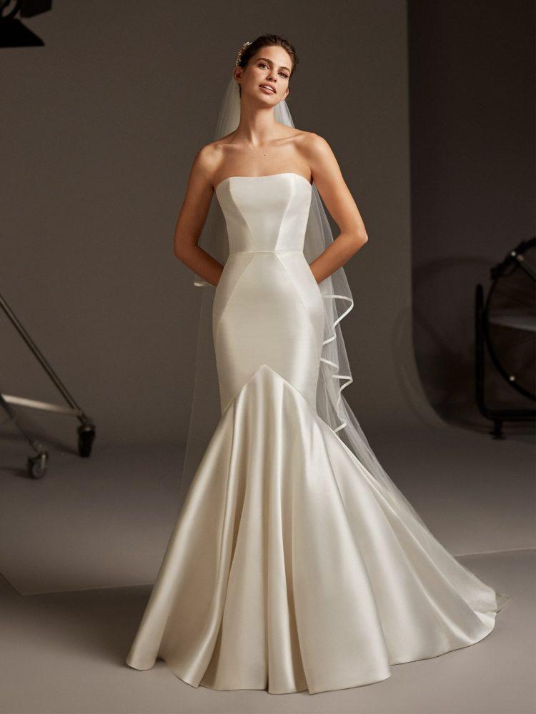 Strapless Silk Mermaid Wedding Dress by Pronovias - Image 1