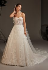 Strapless Sweetheart Lace Corset A-line Wedding Dress by Pronovias - Image 1