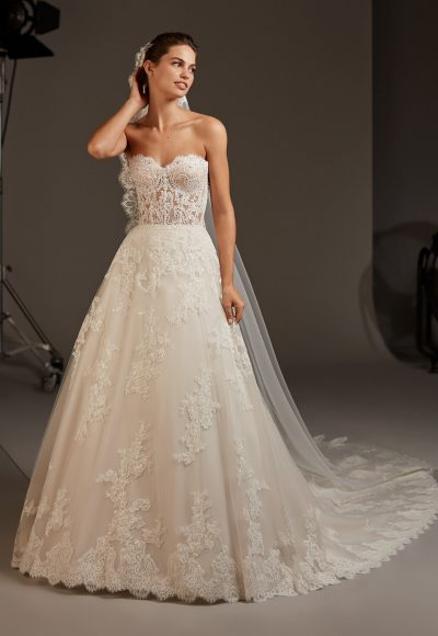 Strapless Sweetheart Lace Corset A-line Wedding Dress by Pronovias