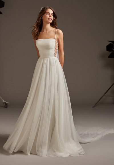 Tulle Spaghetti Strap A-line Wedding Dress by Pronovias