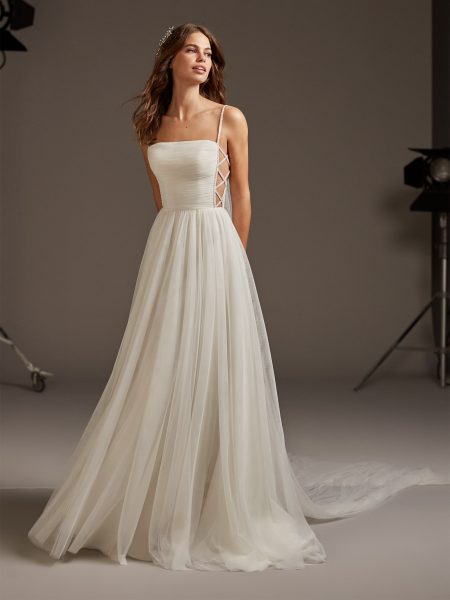 Tulle Spaghetti Strap A-line Wedding Dress by Pronovias - Image 1