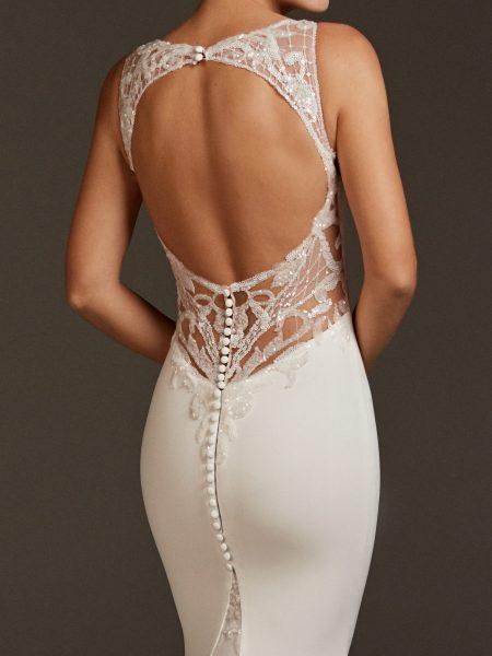 V-neck Crepe Dress With Open Back by Pronovias - Image 2