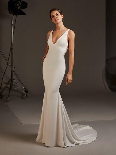 V-neck Crepe Dress With Open Back by Pronovias - Image 1