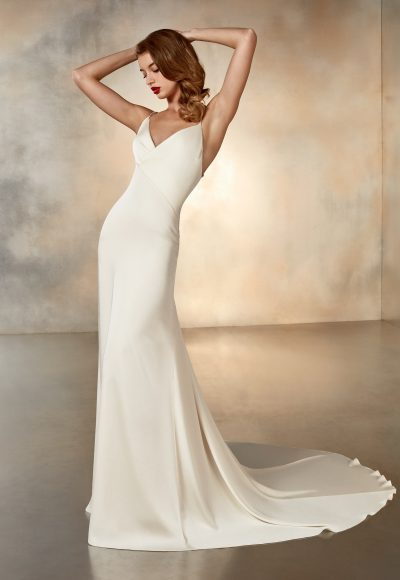 V-neck Simple Crepe Dress by Pronovias