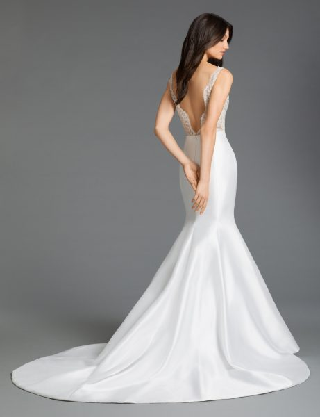 V-neck Mermaid Silk Wedding Dress by Tara Keely - Image 2