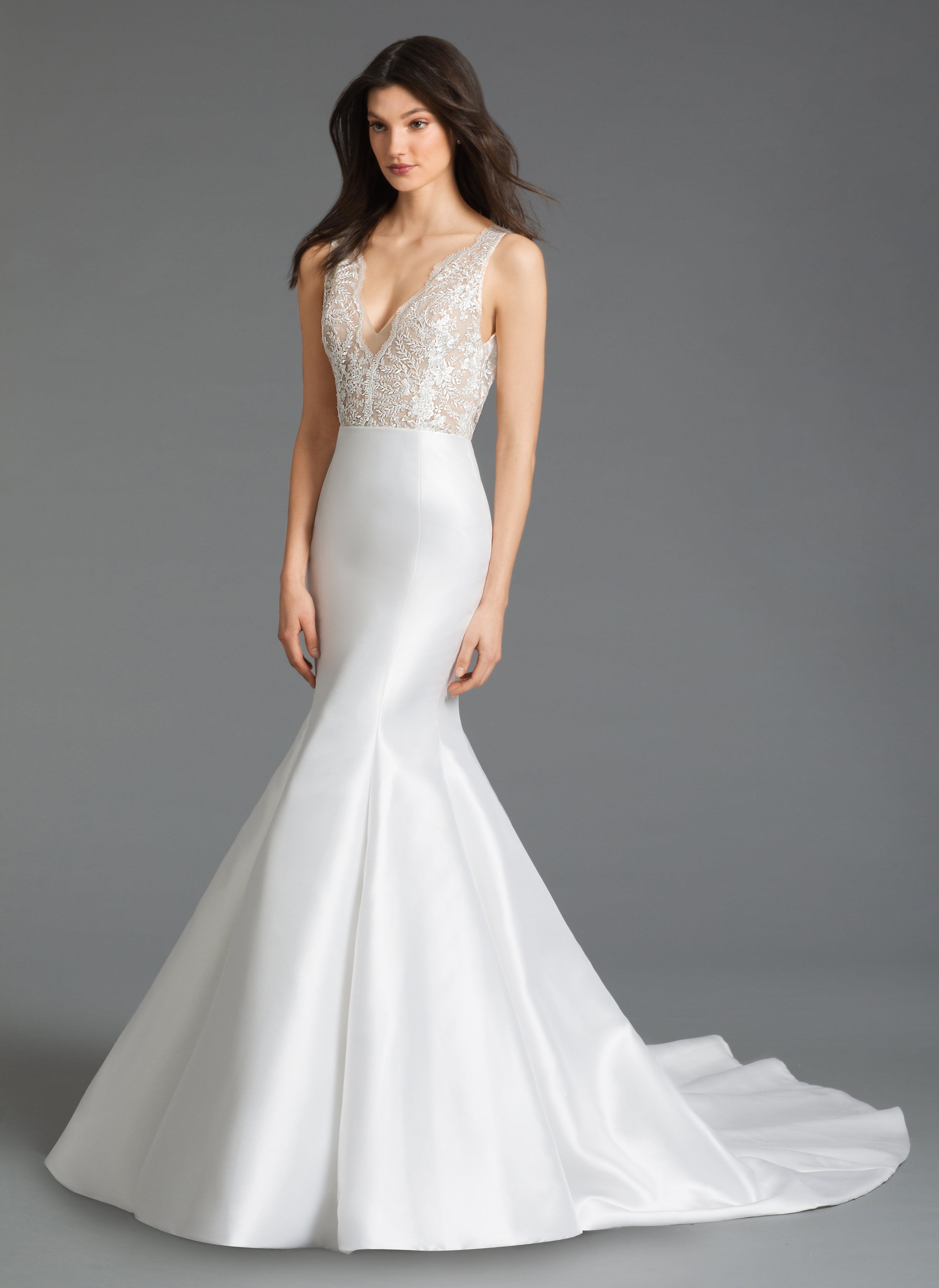 V Neck Mermaid Silk Wedding Dress