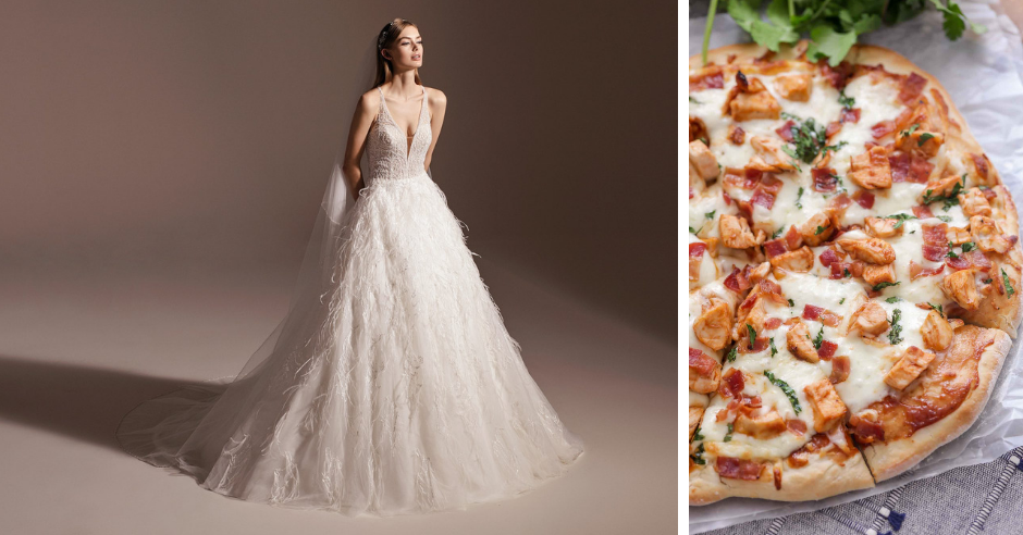 We've matched your favorite pizza flavor to a wedding dress: this match up includes plain pizza, pepperoni pizza, bbq chicken pizza, garden pizza, hawaiian pizza and dessert pizza!