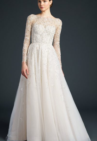 Long Sleeve A-line Embroidered Wedding Dress by Anne Barge