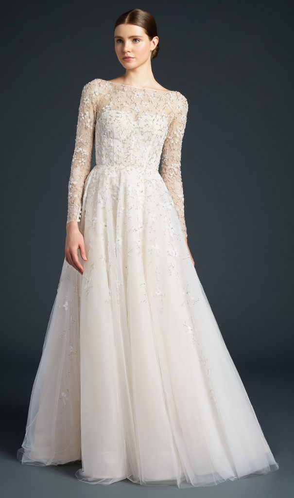 Long Sleeve A-line Embroidered Wedding Dress by Anne Barge - Image 1