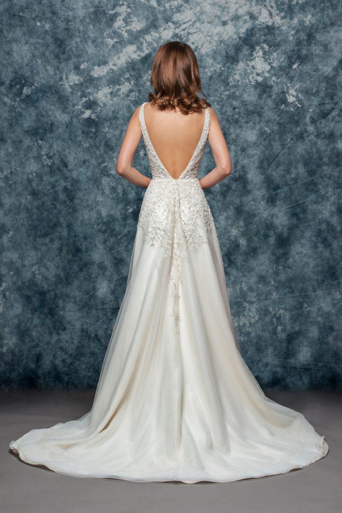 A-line Beaded Wedding Dress by Enaura Bridal - Image 2