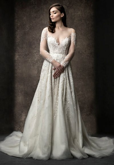 Long Sleeve Illusion A-line Wedding Dress by Enaura Bridal