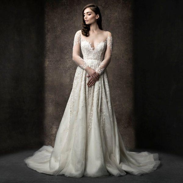 Long Sleeve Illusion A-line Wedding Dress by Enaura Bridal - Image 1