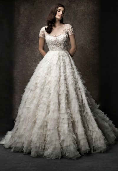 Short Sleeve Ruffled Wedding Dress With Beaded Bodice by Enaura Bridal