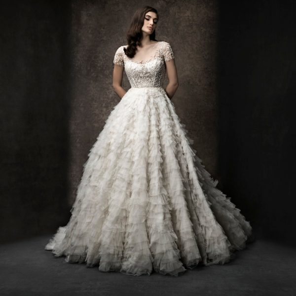 Short Sleeve Ruffled Wedding Dress With Beaded Bodice by Enaura Bridal - Image 1