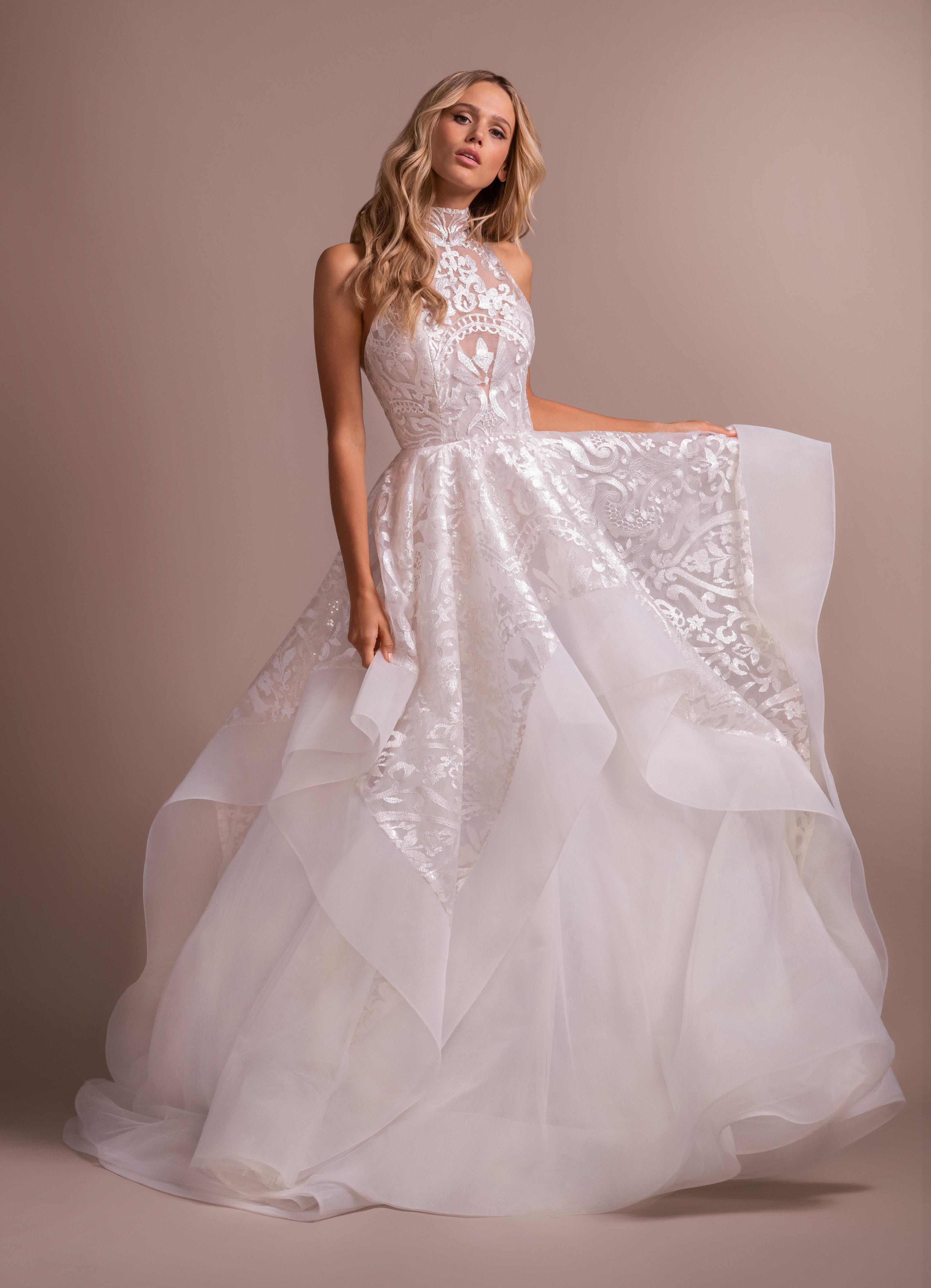 Blush Ball Gown High Neck Wedding Dress