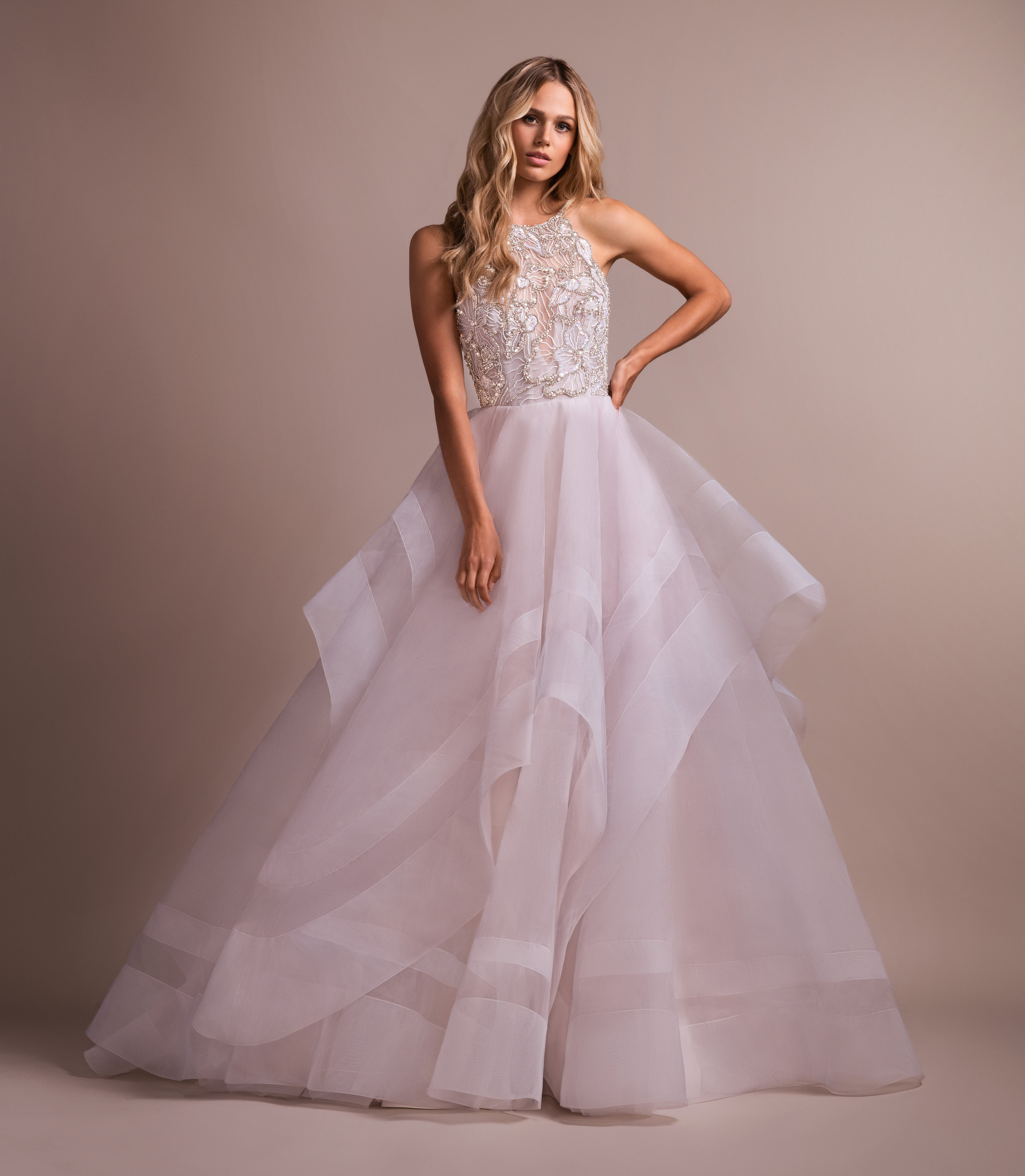 Blush Ball Gown With Horsehair Skirt