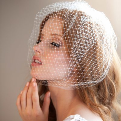 French Net Cage Veil With Swarovski Rhinestones by Justine M. Couture