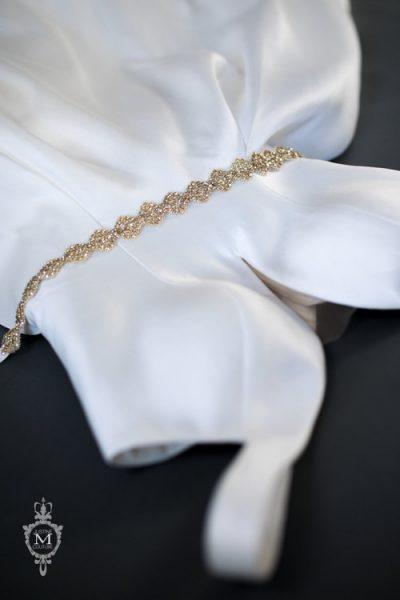Japanese Lace Swarovski Rhinestone Sash by Justine M. Couture - Image 1