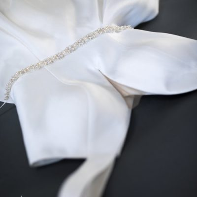 Japanese White Beaded Pearl And Crystal Sash by Justine M. Couture