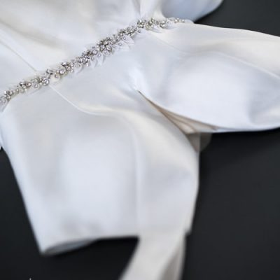 Organza Leaf And Silver Rhinestone Beaded Sash by Justine M. Couture