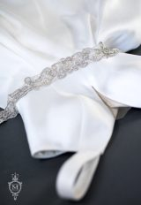 Silver Rhinestone Seed Bead Pearl Sash by Justine M. Couture - Image 1