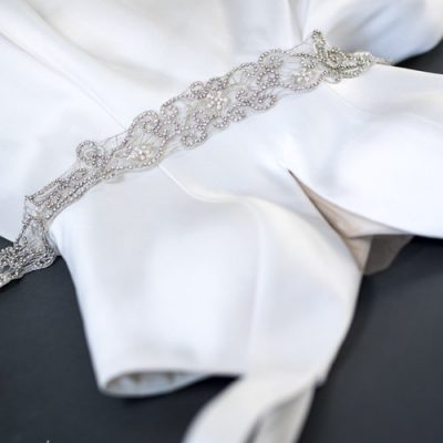 Silver Rhinestone Seed Bead Pearl Sash by Justine M. Couture