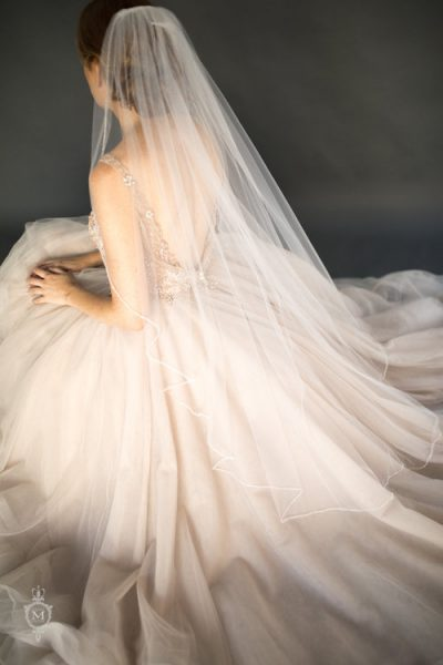 Sparkle Clear And Diamond Crystal Beaded Wavy Cut Veil by Justine M. Couture - Image 1