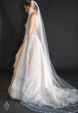 Swarovski Rhinestone And Beaded Traditional Cut Veil by Justine M. Couture - Image 1