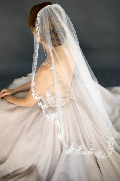 White Sparkle Seed Bead And Sequin Leaf Floral Embroidered Veil by Justine M. Couture - Image 1
