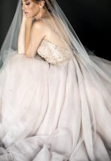 White Sparkle Seed Bead And Sequin Leaf Floral Embroidered Wavy Cut Veil by Justine M. Couture - Image 1