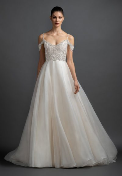 Cold Shoulder Organza Ball Gown Wedding Dress by Lazaro