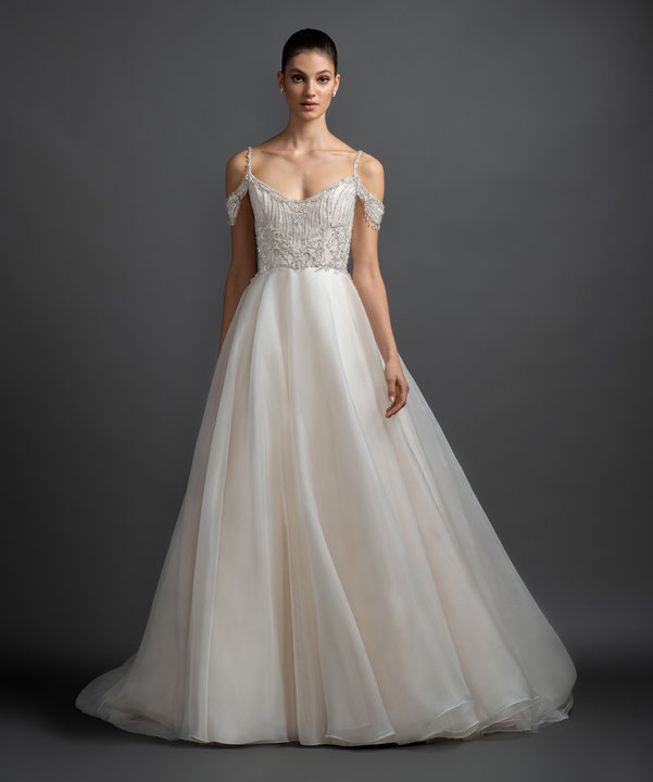 Cold Shoulder Organza Ball Gown Wedding Dress by Lazaro - Image 1