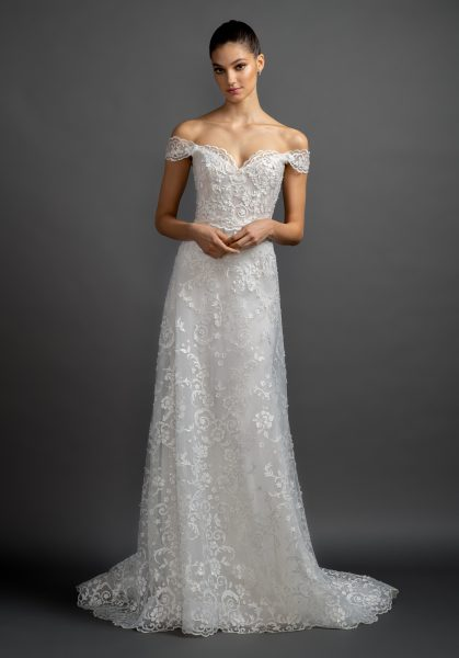 Off The Shoulder Lace A-line Wedding Dress. by Lazaro - Image 1