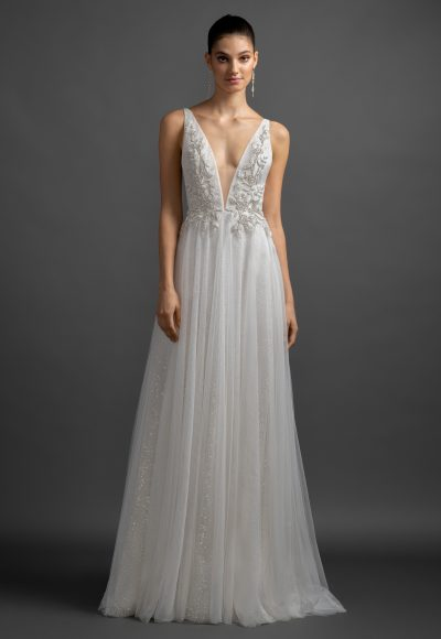 Sparkle A-line V-neck Wedding Dress by Lazaro