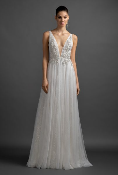 Sparkle A-line V-neck Wedding Dress by Lazaro - Image 1