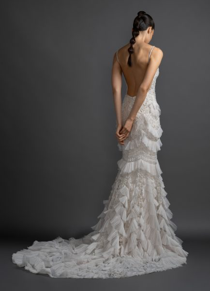 V-neck Embroidered Wedding Dress With Ruffles by Lazaro - Image 2